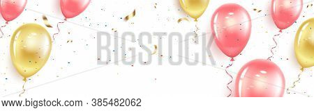 Festive Horizontal Banner With Pink And Gold Balloons, Confetti And Serpentine. Happy Birthday, Wome