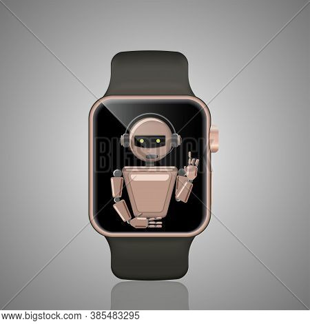 Smart Watch Chat Bot, Virtual Assistant. Voice Support Bot. Online Support Bot. Vector Illustration.
