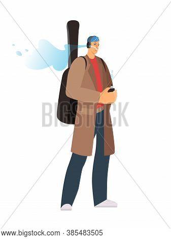 The Musician Guy Smokes Vape. Hipster Guy Smoking Vaper. Vector Illustration On White Background.