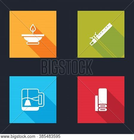 Set Aroma Lamp, Bamboo Flute Indian, Cup Of Tea With Tea Bag And Indian Textile Fabric Icon. Vector