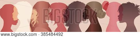 Communication Group Of Multiethnic Diversity Women And Girls Face Silhouette Profile. Female Social