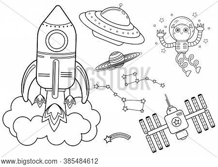 Funny Coloring Kids Space Transport Set. Spaceship, Ufo, Space Station And Space Robot Cartoon Black