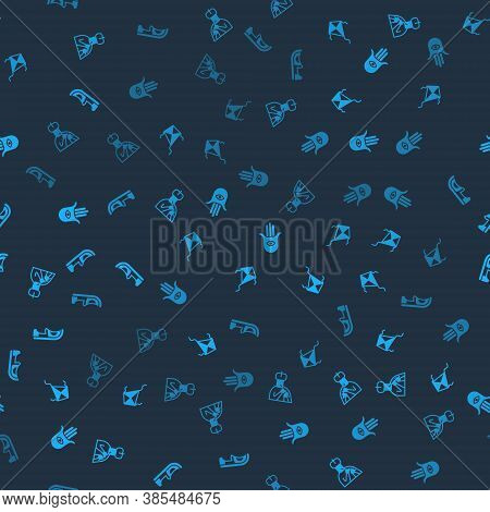 Set Indian Man Plays Flute, Kite, Hamsa Hand And Shoes On Seamless Pattern. Vector