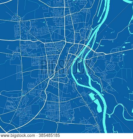 Detailed Map Of Magdeburg City Administrative Area. Royalty Free Vector Illustration. Cityscape Pano