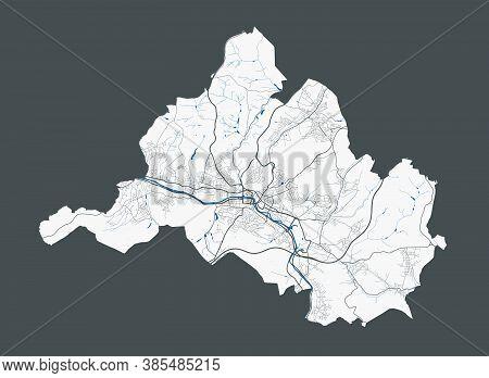 Saarbrucken Map. Detailed Map Of Saarbrucken City Administrative Area. Cityscape Panorama. Royalty F