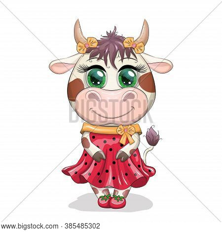 Lovely Cow Girl With Beautiful Eyes In A Red Dress In Black Peas, Like A Ladybug. Funny Cow Characte