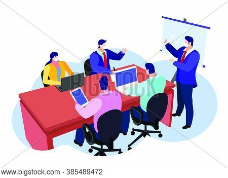 Vector Illustration Of A Business Meeting Discussing Marketing Or Strategy In A Pandemic