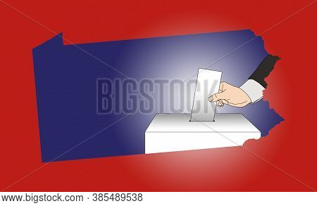 Hand Casting A Vote In A Ballot Box, With A Map Of The State Of Pennsylvania