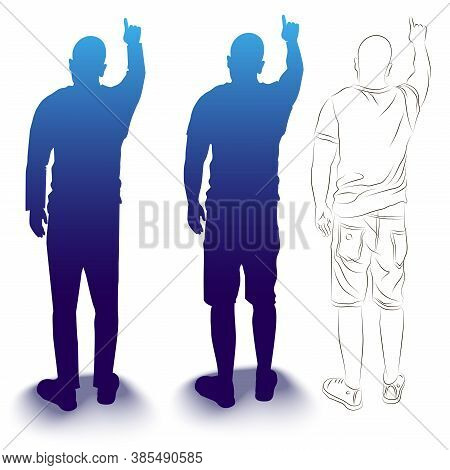 Vector Illustration Of A Silhouette Of A Man With A Raised Hand. Isolated Image Of A Man.