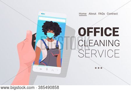 Female Janitor In Mask Cleaner On Smartphone Screen Self Isolation Online Cleaning Service Concept H