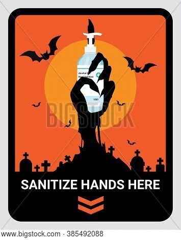 Warning Upon Entering Sanitize Hand Here Sign To Reduce Spread Of Covid-19 Coronavirus Concept. Desi