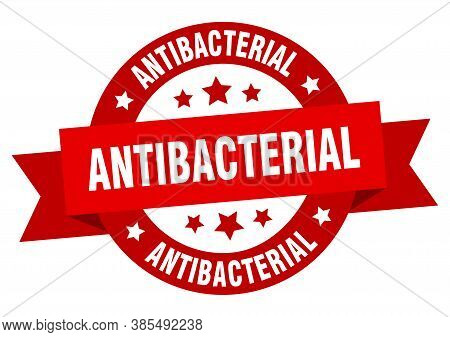 Antibacterial Round Ribbon Isolated Label. Antibacterial Sign