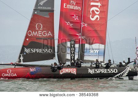 SAN FRANCISCO, CA - OCTOBER 4: The Emirates Team New Zealand sailboat skippered by Dean Barker competes in the America'??s Cup World Series sailing races in San Francisco, CA on October 4, 2012