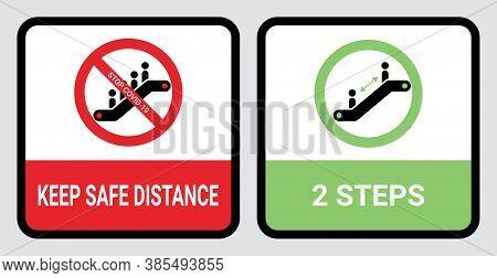 Escalator Coronavirus Warning Icon Symbol To Keep 2 Steps Safe Distance. Preventing Covid-19 Pandemi