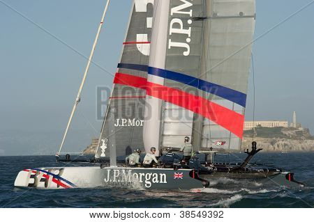 SAN FRANCISCO, CA - OCTOBER 4: Great Britain's Ben Ainslie Racing Team skippered by Ben Ainslie competes in the America'??s Cup World Series sailing races in San Francisco, CA on October 4, 2012