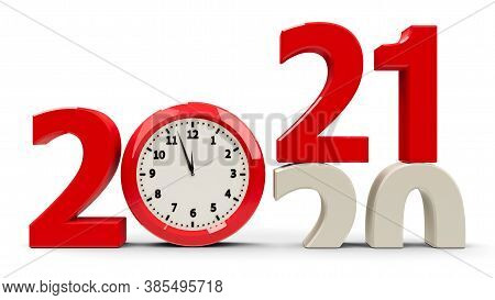 2020-2021 Change With Clock Dial Represents Coming New Year 2021, Three-dimensional Rendering, 3d Il