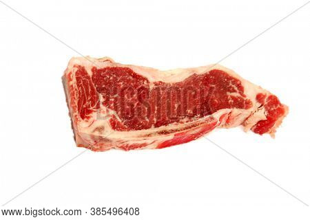 New York Strip Steak. Isolated on white. Room for text. Raw Steak.