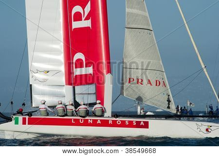 SAN FRANCISCO, CA - OCTOBER 4: Italy's Luna Rossa Swordfish competes in the America'??s Cup World Series sailing races in San Francisco, CA on October 4, 2012