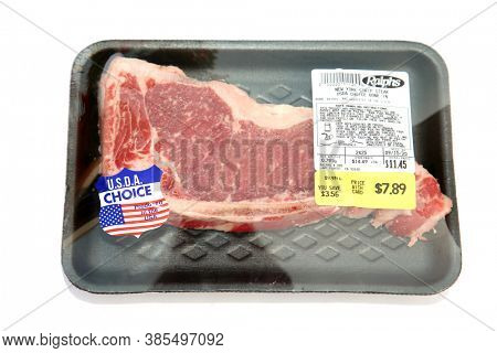 Lake Forest, California / USA - September 15, 2020: Ralph's Grocery Store Packaged  New York Strip Steak. Steak is loved by people world wide. Editorial Use
