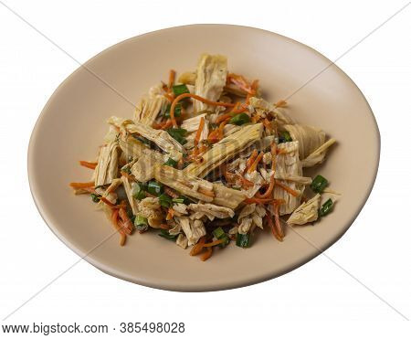 Salad With Soy Asparagus And Carrots, Cucumbers And Dumplings On Beige Plate. Vegetarian Soy Salad O