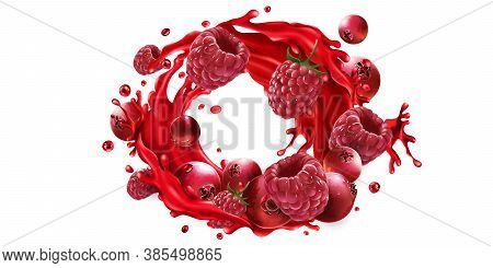 Cranberries And Raspberries And A Fruit Juice Splash.