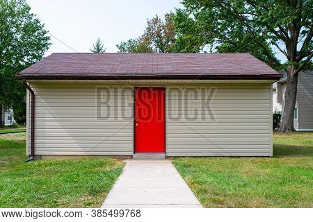 New Shed With Red Doors Storage Front