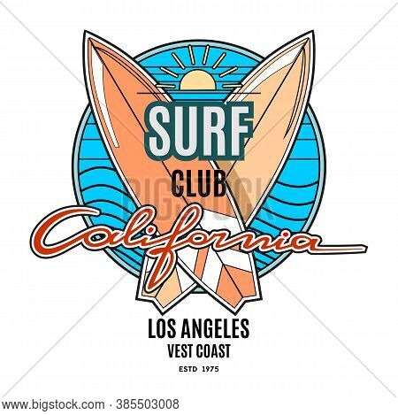 Surfing Logo Template For Surf Club. Vintage Emblem In Retro Style. Surfboards, Vawes And Hand Drawn