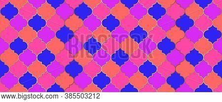 Traditional Ramadan Mosque Golden Tile. Ramadan Kareem Islam Decoration. Moroccan Seamless Mosaic Or