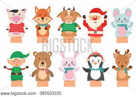 Cartoon Vector Icon Isolated On White Background Theater Puppets. Hands Puppets Play Doll, Cute And