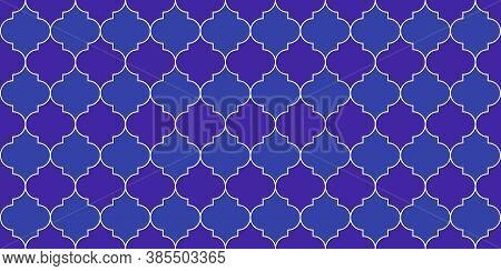 Ramadan Kareem Islam Illustration. Eid Mubarak Muslim Background. Moroccan Seamless Mosaic Pattern.