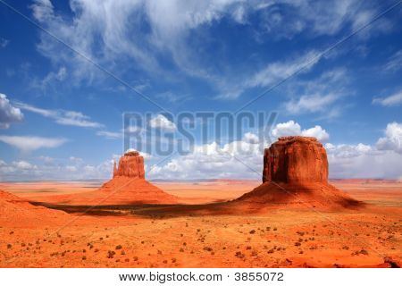Monument Valley Buttes With Beautiful Sky