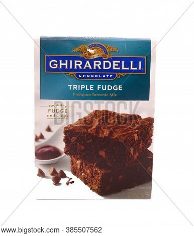 Ghirardelli Triple Fudge Brownie Mix Isolated On White For Illustrative Editorial