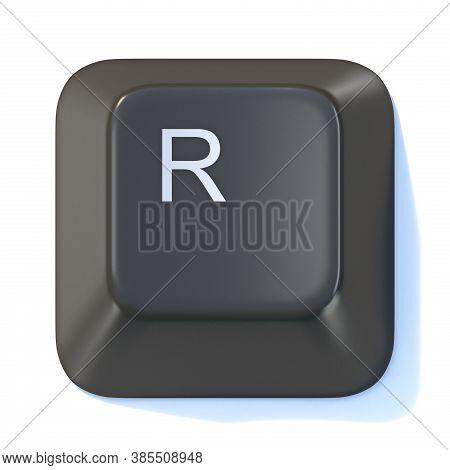 Black Computer Keyboard Key Letter R 3d Render Illustration Isolated On White Background
