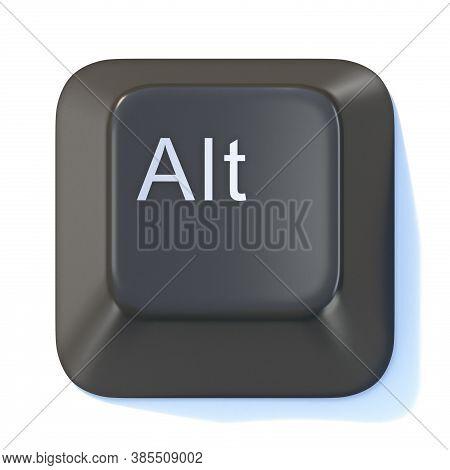 Black Computer Keyboard Alt Key 3d Render Illustration Isolated On White Background