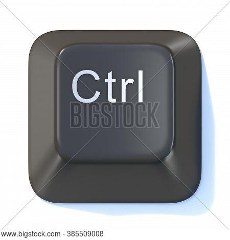 Black Computer Keyboard Ctrl Key 3d Render Illustration Isolated On White Background