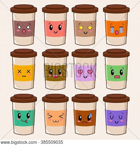 Cute Happy Funny Coffee Cup Set Collection. Isolated On White Background. Vector Cartoon Character I