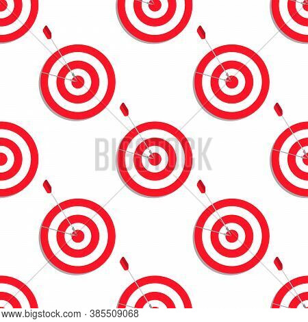 Target Aim Vector Icon In Flat Style. Darts Game Illustration On White Isolated Background. Dartboar