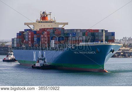 Los Angeles, Usa - April 20, 2008: San Pedro Harbor. Blue Mol Proficiency Container Ship On The Move