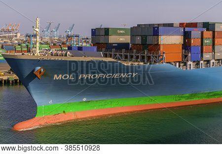 Los Angeles, Usa - April 20, 2008: San Pedro Harbor. Closeup Of Bow Of Blue Mol Proficiency Containe