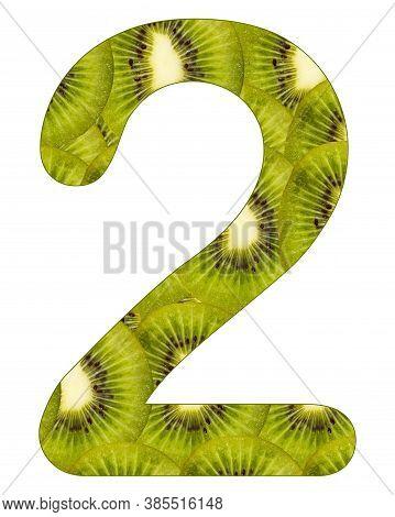 No. 2 (two) With Kiwi Fruit Background - Actinidia Deliciosa