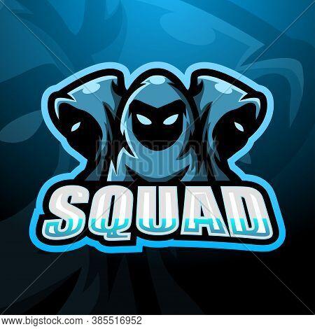 Vector Illustration Of 3 Ninja Squad Esport Logo Design