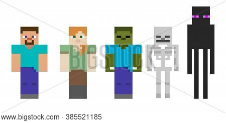 Set Pixel Symbol. Heroes Game Concept. Game Concept Of Game Characters. Vector Illustration
