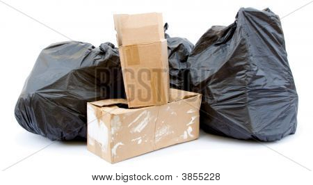 Three Black Garbage Bags
