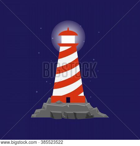 Lighthouse Or Searchlight Tower For Maritime Navigation Flat Vector Illustration.