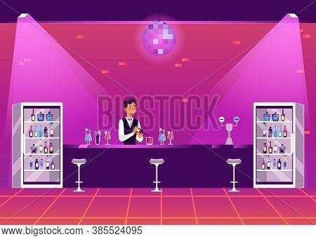 Empty Bar Counter In Disco Nightclub - Cartoon Bartender Man With Drinks