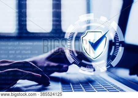 Protection Network Security Computer And Safe Your Data Concept. Digital Crime By An Anonymous Hacke