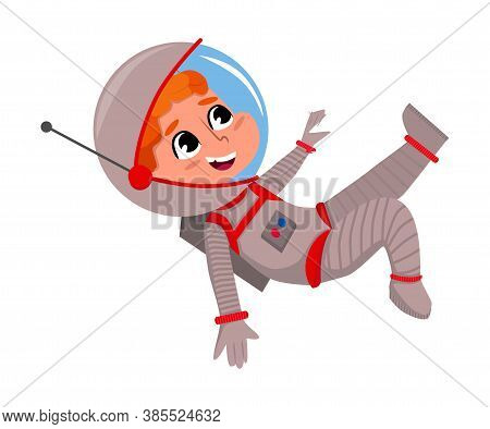 Cute Happy Kid Astronaut In Outer Space Suit Floating In Space, Little Boy Playing Astronauts, Space