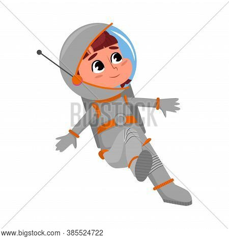 Cute Happy Kid Astronaut Character Space Suit Floating In Outer Space, Little Boy Dreaming Of Becomi