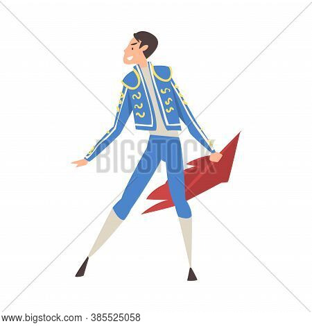 Bullfighter, Toreador, Picador Character Dressed In Blue Costume, Spanish Corrida Traditional Perfor