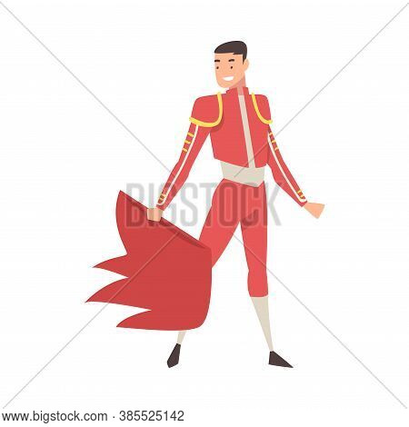 Bullfighter, Toreador Character Dressed In Traditional Red Costume Waving Cape, Spanish Corrida Perf